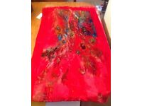 Red pure silk Devore shawl