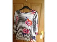 Ladies navy/ white stripe top with flower pattern, size 14 only wore a few times