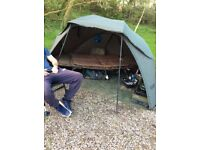 Fox supa brolly system with front as well so acts as a bivvy