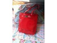 Ted Baker London designer red tote shopper with bow