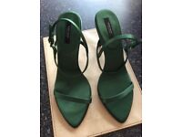 Ladies Zara barely there sandals size 5, green, as new, worn once.