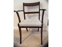 Regency Style Mahogany Carver Chairs with Brass Inlaid Back Rail