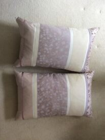 Laura Ashley Natural/Lilac Cushions x2