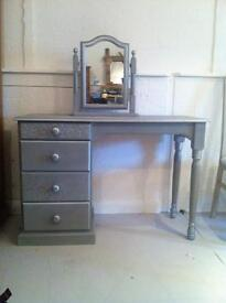 Grey painted pine dressing table and mirror