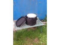 Full drum kit with soft cases and stands