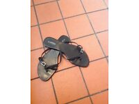 Ladies black flat strap sandals