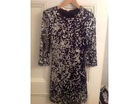 Ladies French Connection black / silver sequin dress. Body con style. Size 8.