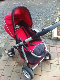 Red Babylo pushchair with adapters for maxi cosi car seat. Excellent condition.