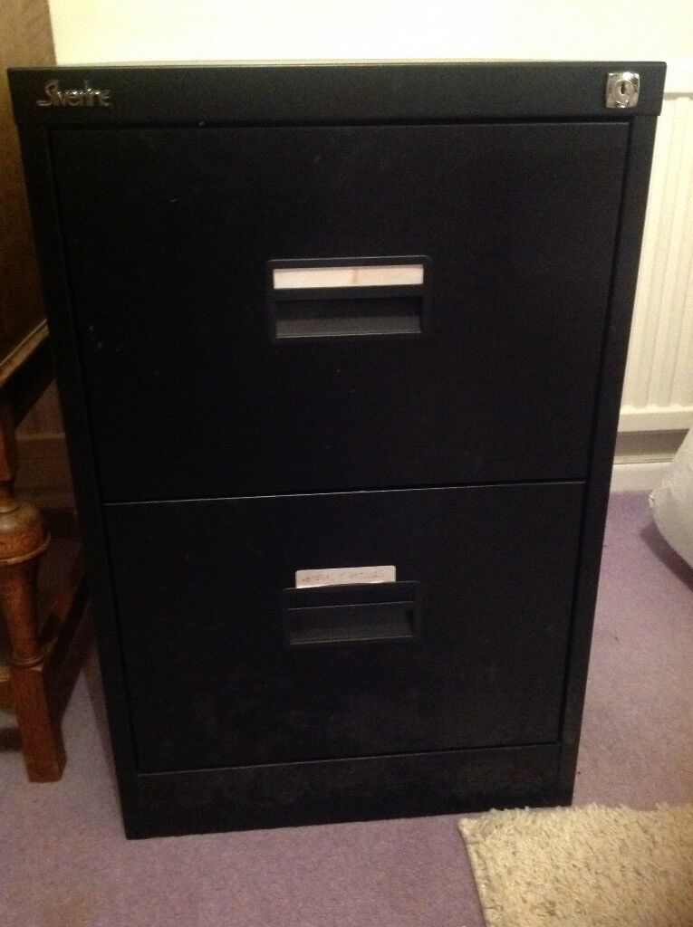 Black Metal 2 Drawer Filing Cabinet