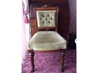 Edwardian. oak . pale green button back dining chairs.excellent condition. £200-00