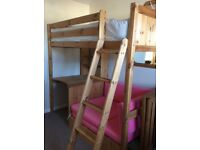 Argos solid pine high sleeper with sofa bed and desk