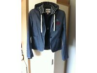 Ladies Superdry 2 In 1 Jacket Blazer Hooded Blue Size Small
