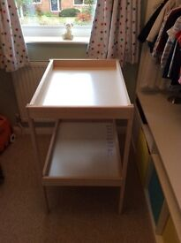Lovely Ikea Sniglar beech and white changing table with underneath shelf