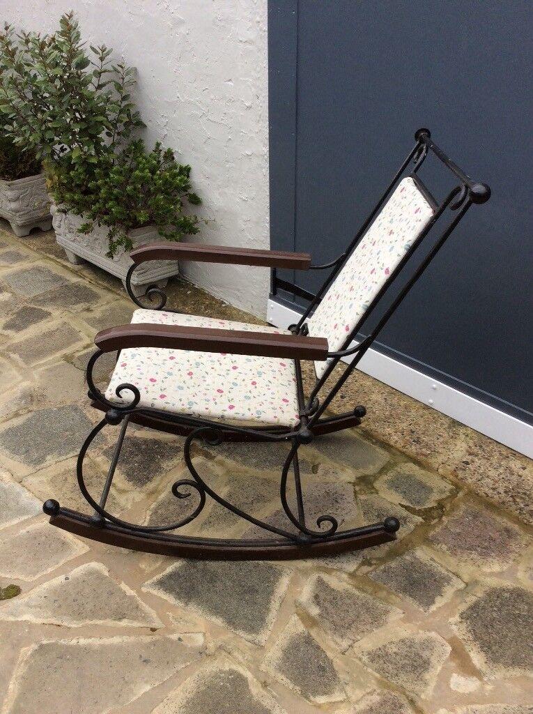 Wrought Iron Spanish Courtyard Rocking Chair
