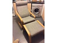 Ikea Poang Chair and foot stool