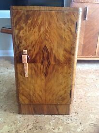 Art Deco, walnut veneer cabinet with drawer and bakerlite handle