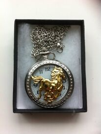 Unisex Retro silver and gold coloured Hollow Horse Case Quartz Fob Pocket Watch