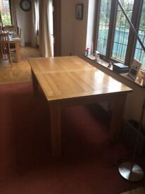 Solid Oak Dining Table Depth 190cm depth x 100cm width x 77cm height