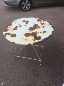 Vintage folding metal table