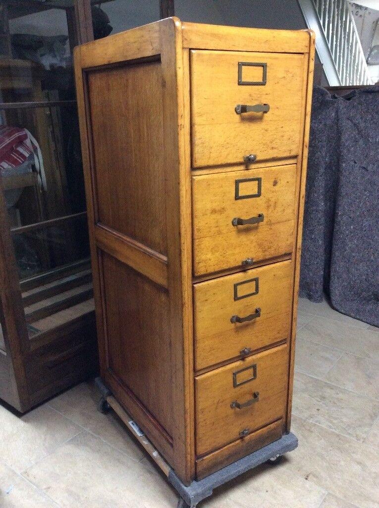 Antique Filing Cabinet solid oak Arts and Crafts 4 drawer Edwardian  COMPLETE! - Antique Filing Cabinet Solid Oak Arts And Crafts 4 Drawer Edwardian