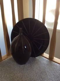 Brown Vase & Dish Set