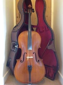 Cello for sale – full-size and in great condition with hard case and bow