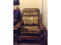 Wood and cushion wide armchair, free