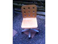 IKEA fabulous modern wood & metal Swivel hydrolic adjustable Computer chair .