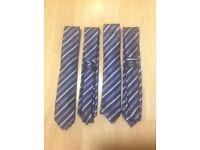 Four dark purple striped ties wedding
