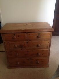 Antique Pine Chest - Five Drawers £120 OVNO