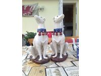 """Pair of greyhound or whippet ornaments 14"""" tall"""