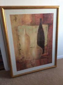 2 large gold framed pictures