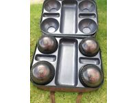 set (4) cased henselite classic deluxe heavy size 6's lawn bowls