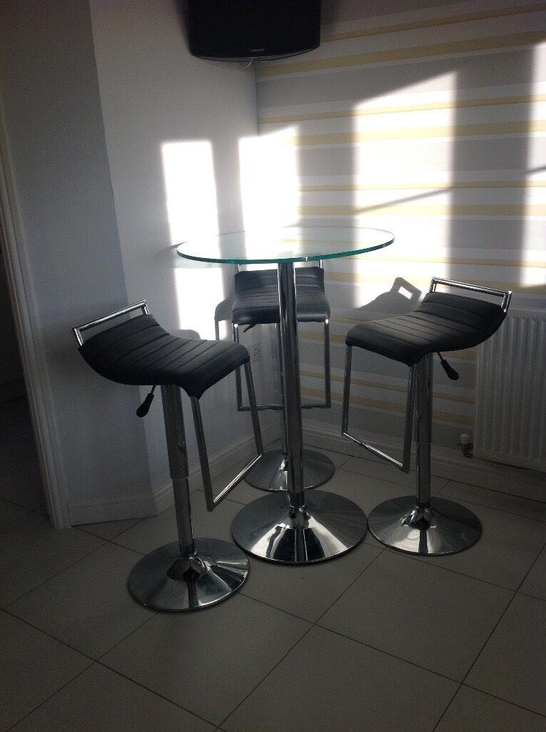 Bar table and 3 bar stools
