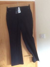 Marks and Spencer ladies ' black cotton straight leg trousers size 14 medium length