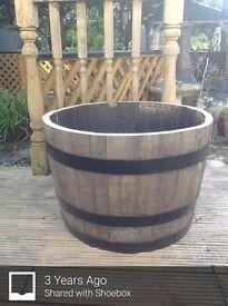 Oak barrel planter for the garden patio bar pub wedding