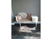 Unusual vintage elegant long telephone bench, Chippy Heath furniture, for private use or photos