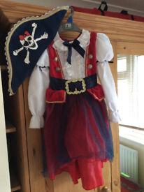 M&S girls pirate costume fancy dress age 3-4