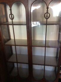Vintage large glass display presentation cabinet unit