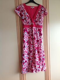 Debenhams Casual Collection pink flower summer party flowery dress with beading Ladies Size 14