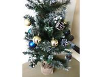 Xmas bundle with used once tree 90 cms 2 boxes most unused baubles with other decs