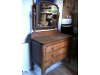 Lovely Antique Dressing Table Chest of Drawers with Mirror / Can Deliver