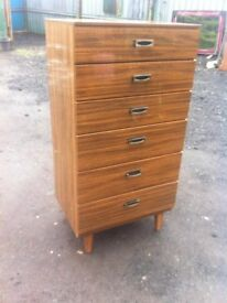 Stunning 1960s melamine six drawer tall boy