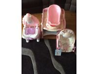Baby Annabell High Chair, Changing Table, Moses Basket, Bath, lot, bundle.