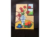 Original Painting -Still Life of Fruit and Flowers