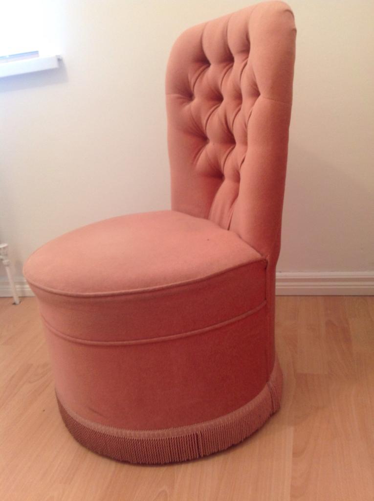 Pale Pink Vintage Velvet Fringe Dressing Bedroom Chair