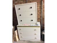 Two CHEST OF DRAWERS in white. Bit of wear and tear but fully functioning . Excellent storage.