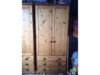 Pine Wardobes with 3 drawers