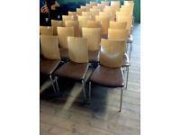 x 36 Brown Leather and Beechwood Danish Design and Made Restaurant Dining Chairs