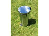 Chrome silver coloured kitchen pedal bin
